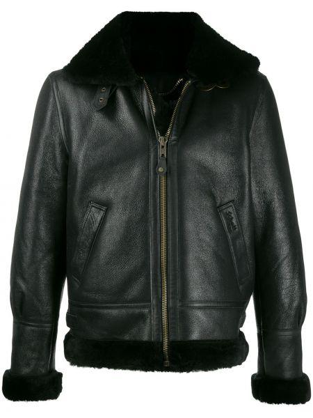 Czarna długa kurtka skórzana z długimi rękawami Schott