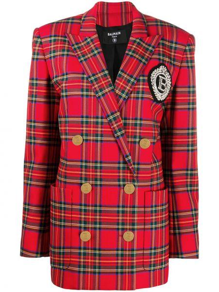 Красный удлиненный пиджак двубортный в клетку Balmain