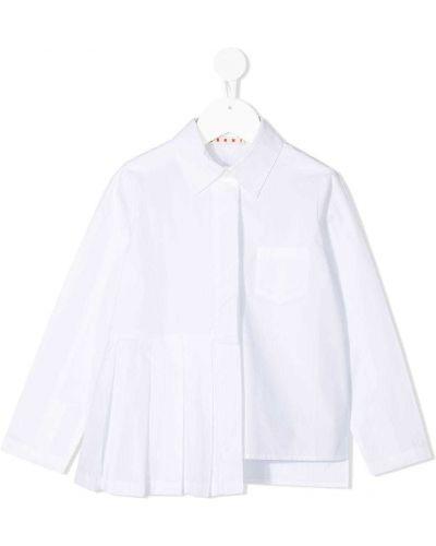 Асимметричная белая классическая рубашка с воротником с заплатками Marni Kids