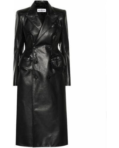 Кожаное пальто черное Balenciaga