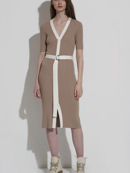 Платье с поясом из вискозы длинное Vassa&co