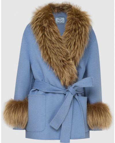 Пальто с мехом - голубое Prada