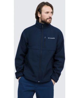 Спортивная прямая синяя куртка с капюшоном софтшелл Columbia