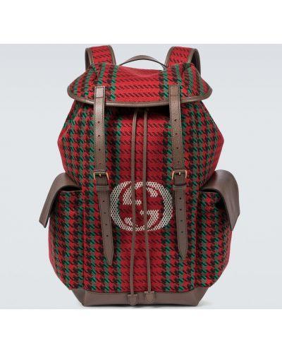 Sport plecak skórzany w paski Gucci