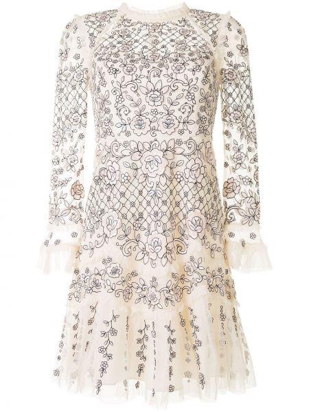 Расклешенное платье с вышивкой на молнии с вырезом Needle & Thread