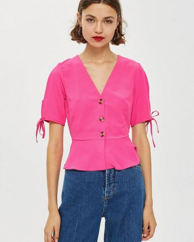 Блузка с коротким рукавом розовая Topshop
