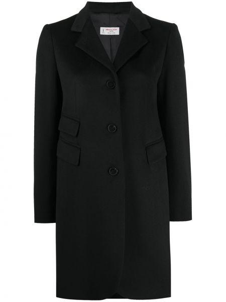 Черное однобортное шерстяное пальто на пуговицах Alberto Biani