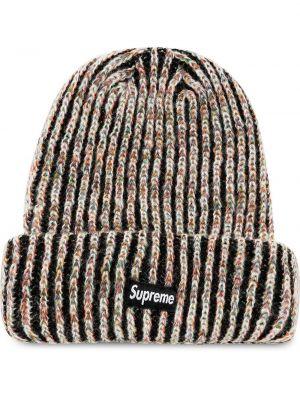 Czarny kapelusz bawełniany z haftem Supreme