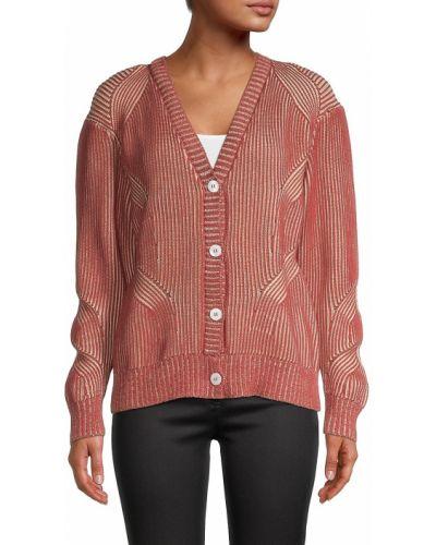 Мягкий длинный свитер в полоску с V-образным вырезом Nicole Miller