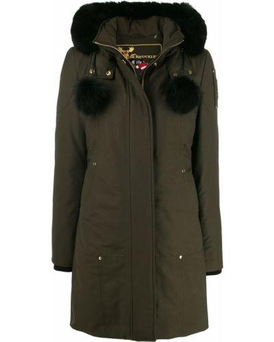 Коралловое пуховое длинное пальто с капюшоном Moose Knuckles