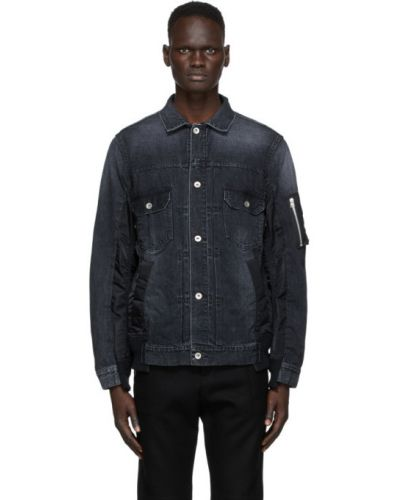 Czarne jeansy srebrne z długimi rękawami Sacai