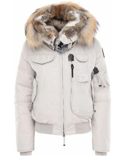 Серебряная нейлоновая куртка с капюшоном на молнии с мехом Parajumpers