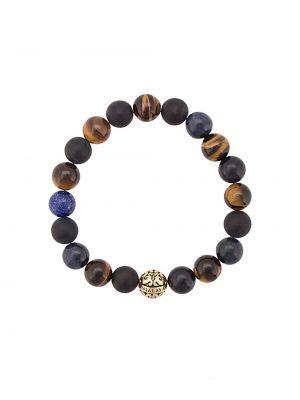 С ониксом синий браслет с бисером позолоченный Nialaya Jewelry