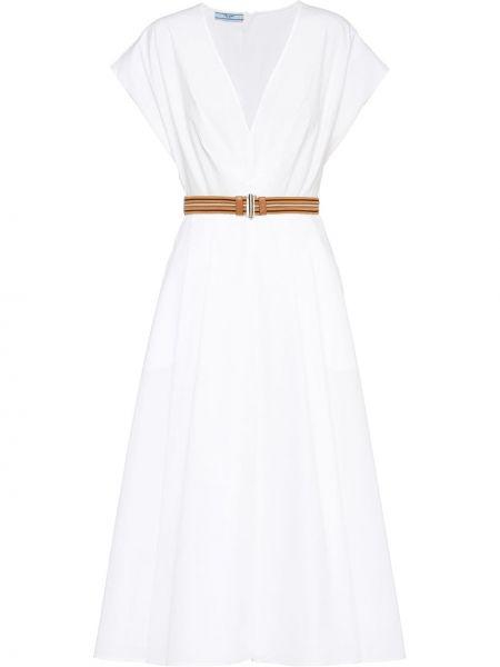 Белое платье миди с короткими рукавами из поплина Prada