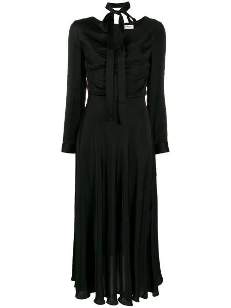 Черное платье на молнии с оборками из вискозы Jovonna