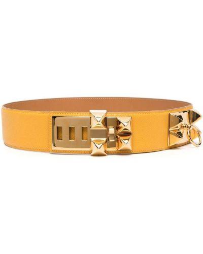 Желтый кожаный ремень с заклепками Hermès
