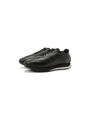 Кожаные кроссовки с подкладкой Santoni