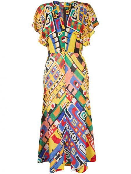 Расклешенное шелковое платье миди с рисунком на молнии Stella Jean