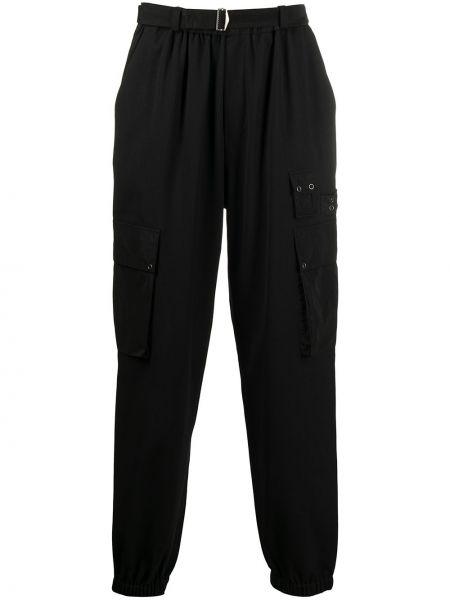 Wełniany czarny spodnie sportowe z łatami z kieszeniami Mcq Alexander Mcqueen