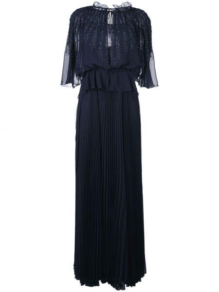 Вечернее синее плиссированное вечернее платье Talbot Runhof