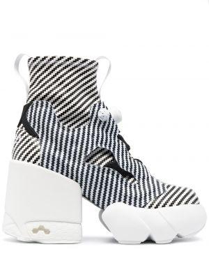 Czarne ankle boots na platformie skorzane Maison Margiela