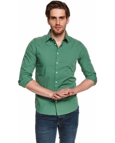 Zielona koszula bawełniana z długimi rękawami Top Secret
