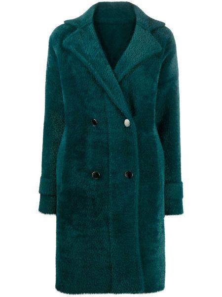 Zielony płaszcz z kieszeniami z klapami Pinko