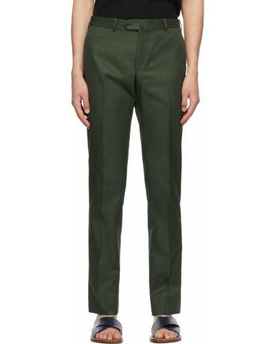Zielone spodnie z paskiem bawełniane Isaia