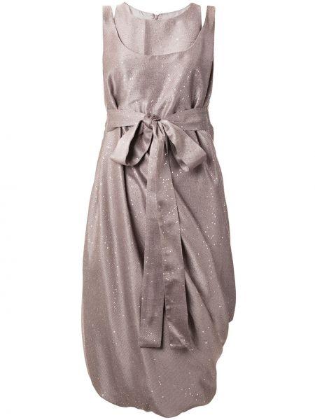 Асимметричное розовое платье миди с пайетками без рукавов Paskal