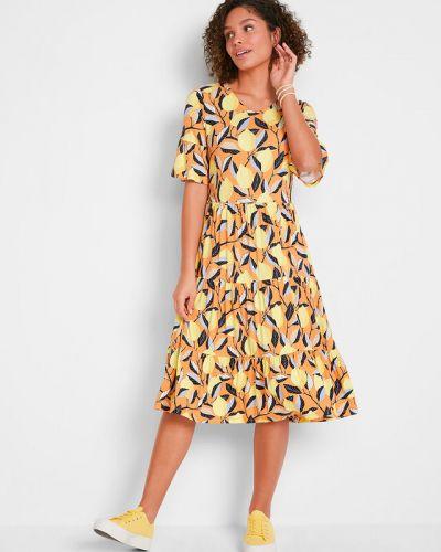 Трикотажное платье - оранжевое Bonprix