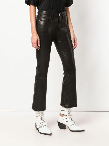 Черные кожаные укороченные брюки с карманами Frame