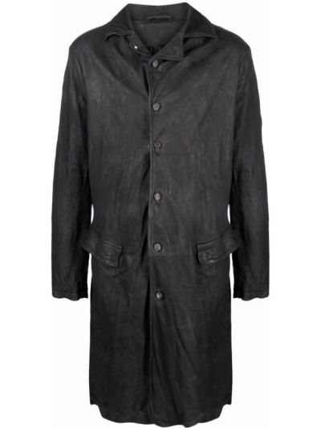 Czarny płaszcz skórzany Giorgio Brato