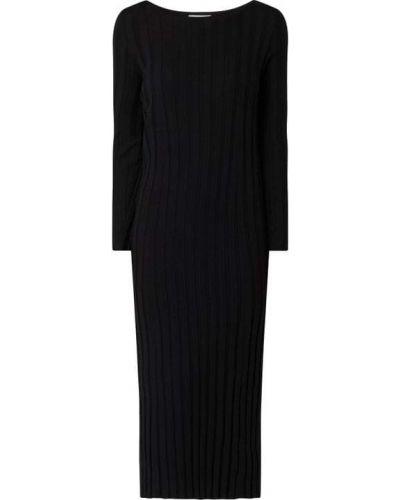 Prążkowana czarna sukienka midi bawełniana Armedangels