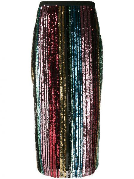 Черная юбка миди с пайетками в рубчик с поясом Antonio Marras