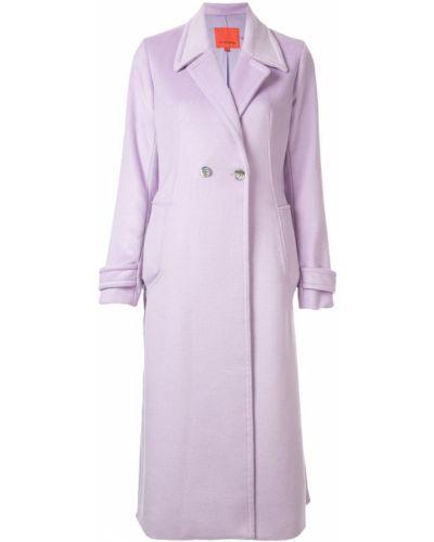 Фиолетовое пальто классическое с капюшоном с воротником Manning Cartell