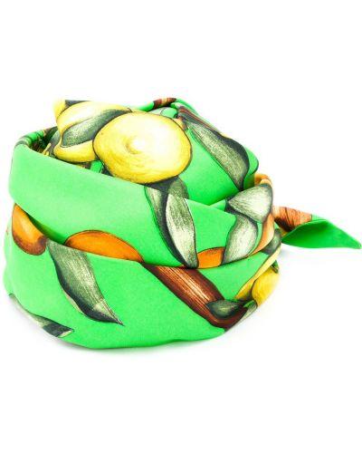 Зеленая с ремешком шелковая бандана Hermes