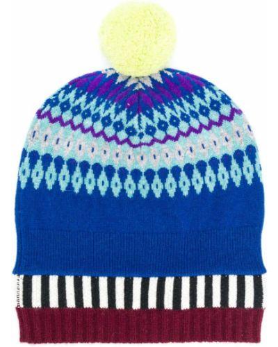 Синяя шапка с помпоном Burberry
