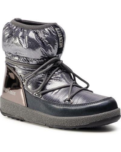 Szare śniegowce skorzane Moon Boot