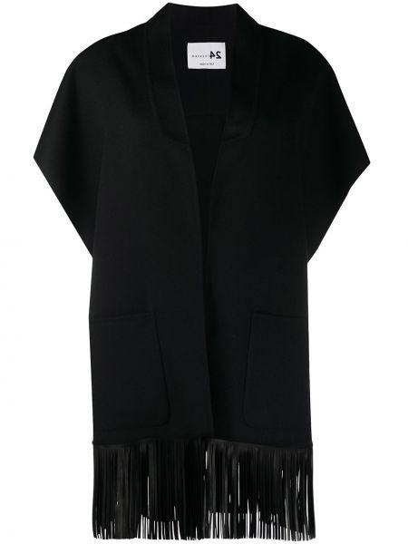 Черная кожаная короткая куртка с бахромой Manzoni 24