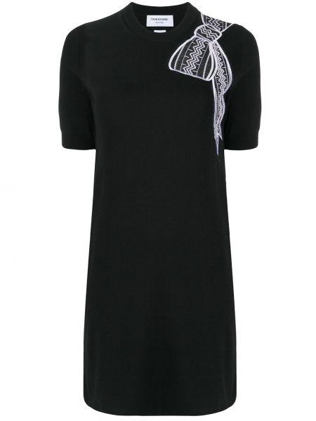 Czarna sukienka mini krótki rękaw z jedwabiu Thom Browne