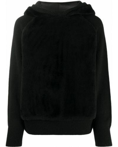 Trykotowy wełniany czarny bluza z kapturem z raglanowymi rękawami Yves Salomon