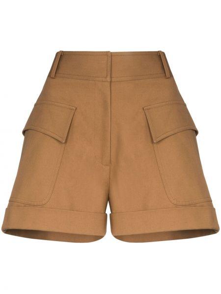 Хлопковые шорты с карманами с отворотом Victoria Beckham