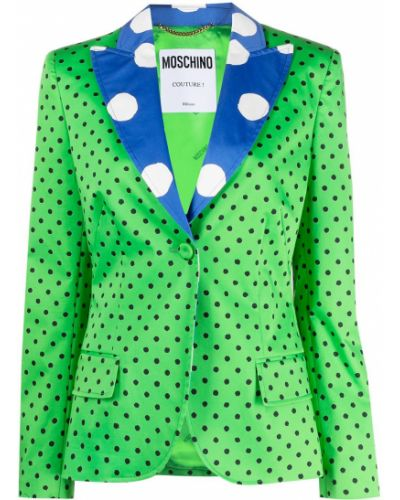 Зеленый удлиненный пиджак с карманами с воротником Moschino