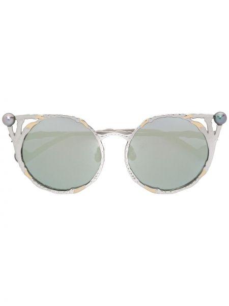 Золотистые желтые солнцезащитные очки металлические с жемчугом Anna Karin Karlsson