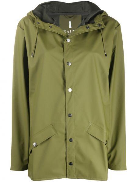 С рукавами коралловое длинное пальто из плащевки с карманами Rains