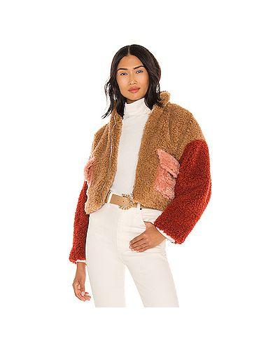 Коричневая куртка из искусственного меха на молнии Kendall + Kylie