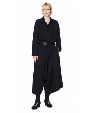 Платье с поясом на молнии с отложным воротником Yohji Yamamoto