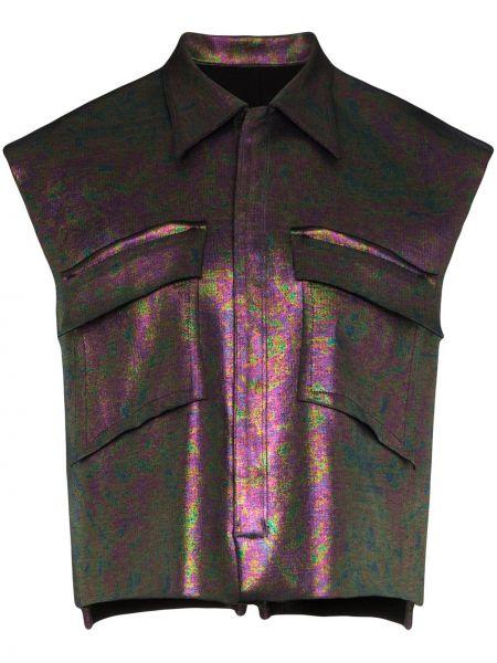 Fioletowa kurtka bawełniana bez rękawów Sulvam