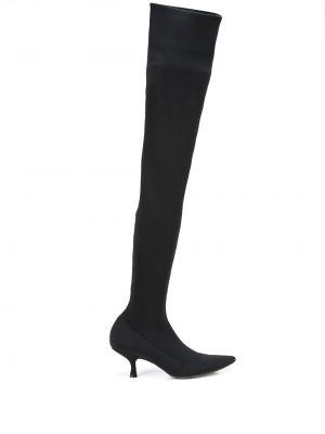 Черные сапоги на каблуке Khaite