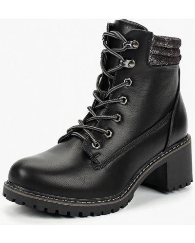 Кожаные ботильоны черные на каблуке Bellamica